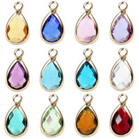 Wholesale magnetic locket pendant for sale - Group buy 12 colors birthday stone glass drop alloy pendant bracelet necklace jewelry Floating Charms For Magnetic Living Glass Locket Pendants