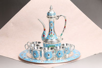 Wholesale Collectible Teapots - Exquisite Chinese handwork flower Cloisonne teapot& Cup & plate y532