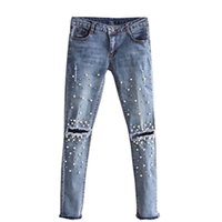 джинсы для девочек оптовых-2017 New Fashion Women Girls Hole Bead Jeans Destroyed Ripped Pearled Slim Denim Boyfriend Jeans Trousers