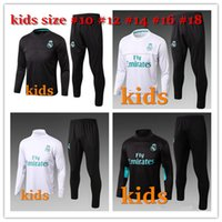 Wholesale Sport Wear Kids Boy - 2017 2018 Kids Long Sleeve Real Madrid Tracksuit Youth Sport Wear Children Ronaldo training tracksuit Jogging Boys Soccer kit Football Suits