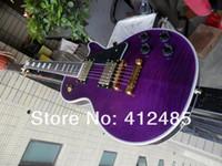 loja da guitarra frete grátis venda por atacado-Frete grátis nova Custom Shop vos roxo chibson guitarra Elétrica instrumentos musicais Rose wood fingerboard espuma caixa de embalagem