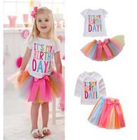 Wholesale Rainbow Birthday Cakes - NEW girs tutu Birtyday dress Birthday Print T shirt + Rainbow Cake Skirt summer girl's set causal girl Rainbow Birthday sets kids girl dress