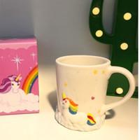 canecas de cerâmica frete grátis venda por atacado-3D unicórnio canecas de café caneca de café copo de cerâmica 3D criativa pintura à mão com caixa de varejo novidade bonito caneca de chá frete grátis