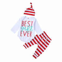 Wholesale best baby pants for sale - Group buy Baby Clothes Boys Girls Suits Best Gift Ever Printed Long Sleeve Romper Striped Pants Hat Baby Outfits Set Children Kids Clothing