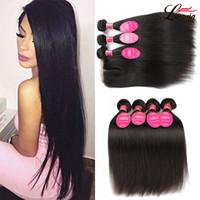 Wholesale mink bundles closure for sale - Group buy Brazilian Straight Hair With Closure A Mink Peruvain Virgin Human Hair Bundles With Lace Closure x4 Brazilian lace closure with Bundles
