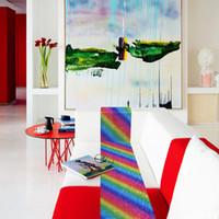 mesa de mantel de lentejuelas al por mayor-Moda 28 * 180 cm mantel de lentejuelas arcoiris unicornio camino de mesa suministros para fiestas paño de tela mantel de fibra de poliéster para fiesta de cumpleaños