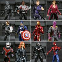 Wholesale Visions Tv - toy for man Legends Civil War Captain America Black Panther Vision Falcon Iron Man PVC Action Figure toy
