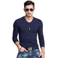 camisas de algodón ajustadas para hombre de corea al por mayor-O-Cuello Hombre Primavera Marca de Moda O-Cuello Slim Fit Camiseta de Manga Larga Hombres Tendencia Casual Hombres T -Camisa Coreana Camisetas Algodón