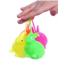 Wholesale april finger - Soft Rubber Flash led rabbit Toys Hedgehog Ball kids finger Bouncing Ball Led Flashing Pbaby Toys Christmas Birthday Festival Gift