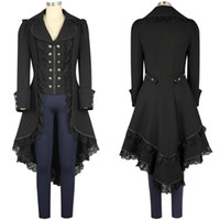 Wholesale Victorian Punk - women's Steam punk Tailcoat Jacket Gothic Victorian Coat Single Breasted Trench coat