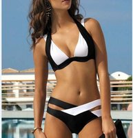 Wholesale Swimwear Bandage - New Summer Sexy Patchwork Bikini Woman Swimsuit 2018 Bandage Swimwear Best Soft Swimsuits Bathing Suit Black And White