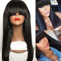 pelucas largas sexy de calidad al por mayor-Barato sexy largo sedoso recto ninguna pelucas de encaje con flequillo pelucas negras de alta calidad para mujeres negras pelucas de mujeres suaves naturales resistentes al calor