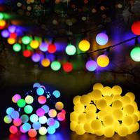açık renkli çok renkli ışıklar toptan satış-Renkli 50 Leds güneş ışığı serisi su geçirmez açık top peri dize Tatil Noel Bahçe Düğün Ev dekorasyon LED dize