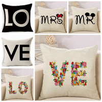 Wholesale gift pillow love - Love Letter Pillow Covers Valentine s Day Pillow case Office Linen cushion cover Valentine s gifts DHL Free Designs YW399