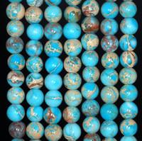ingrosso blu di jasper-Whoelsale Blue Imperial Jasper Gemstone Branelli allentati, Blue Sediment Jasper Beads 6mm 8mm 10mm 12mm per la fabbricazione di gioielli 15.5