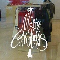 weihnachten vinyl fenster dekorationen großhandel-Kreative Frohes neues Jahr Weihnachtsbaum Wandaufkleber Shop Büro Fenster Decals Weihnachten Tapete Vinyl Kunst Livng Zimmer Dekoration Party Geschenk