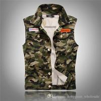 Wholesale sleeveless coats for men - summer style camouflage fashion brand Men denim vest slim army green Outerwear mens denim Coats jackets Sleeveless vest for men
