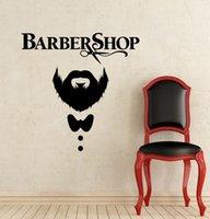 saç kesimi salonları toptan satış-Çıkarılabilir Makas Bıyık Saç Kesimi Kuaför Dükkanı Duvar Çıkartmaları Adam Güzellik Salonu Dekorasyon Için
