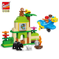 Wholesale action love - GOROCK Large Size 60Pcs Amazing Zoo Building Action Figure Blocks Compatible With Duplo Toy For Children Best Love Holiday Gifts