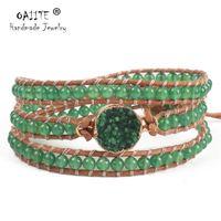 браслеты из натуральной кожи оптовых-OAIITE Fashion Jewelry 3 Strands Green Natural Stone Bead Handmade Brown Leather Beaded Bracelet Leather Wrap Excellent Handwork