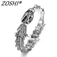 jóias dragão mulheres venda por atacado-Presente original para o amante do dragão encantos pulseiras bang punk aço inoxidável pulseiras para mulheres homens pulseira jóias