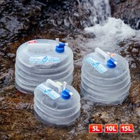 Wholesale plastic cooler bag - SO Cool Outdoor Camping Folding Bucket with Faucet Water Storage Bucket Portable Water Bag Water Bottles 5L 10L 15L CCA9852 5pcs