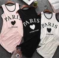 pijamas de mujer al por mayor-Mujeres Pink Nightwear Paris Cute Pyjama Sets Ladies Gril Sleep Shirts Mujeres Tank Tops Mujeres ropa de dormir
