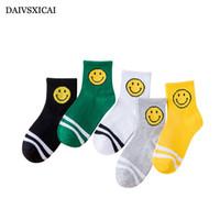 Wholesale cartoon faces socks - Daivsxicai Winter Socks For Kids Smile Face Pattern Cartoon Child Cotton Socks Medium Tube Fashion Baby Sock Student 5pairs lot