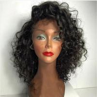 dentelle de cheveux pour les hommes achat en gros de-LIN MAN Brésilien Bouclés Lace Front Perruques avec des cheveux de bébé Remy Cheveux Humains Pré-Arrachés Hairline Glueless Court BoB Perruques