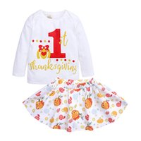 Wholesale Thanksgiving Day Baby Girl Clothes Suits Pumpkin Children T Shirt Skirts Pieces Clothing Sets Girls Outfits Jumpsuits Years