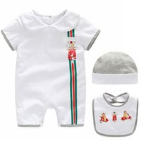 Wholesale white infant bibs - Fashion Newborn Baby Girl Clothes Short Romper And hat bibs 3 piece Suits Infant Summer Girls Clothing Sets