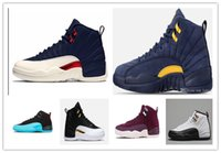 Wholesale college shoes - Cheap 12 bulls UNC College Navy Wheat Bordeaux The Master Black Wool Flu Game Michigan Men Basketball Shoes 12s Womens Sneakers Trainers
