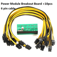Wholesale pci boards - Power Module Breakout Board 1600W Server Power Conversion Board with 10 6pin 10 6pin+2 pin PCI-E Cable for Ethereum Mining Device 20pc lot
