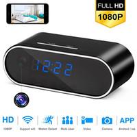 Wholesale video alarms - Wireless Hidden Camera Alarm Mini Spy Camera Clock 1080P HD Night Vision Wifi Remote Security Monitoring Motion Detection Video Recorder