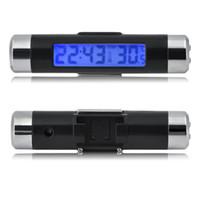ingrosso orologio digitale della clip car-Car Digital LCD Temperatura Termometro Orologio 2 in 1 Car Time Clock Orologio Air Vent Outlet Clip dentro