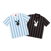 cool camisa logotipos venda por atacado-High-end 2018 Box Logo Playboy Soccer Jersey T-shirt Luxo Homens Mulheres Esporte manga curta Verão Vintage Tee Casual fresco respirável