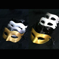 Wholesale Venetian Mask White - Men's lady Masquerade Mask Fancy Dress Venetian Masks Masquerade Masks Plastic Half Face Mask Optional Multi-color (Black, White, Gold,