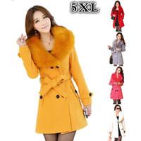 Wholesale Women Winter Pea Coat - Wool Trench Pea Coat Ladies Fur Lapel Collar Winter Warm Long Elegant Slim Double-breasted Jacket Outwear for Women