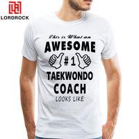 Wholesale Korea Top Tee - Male Awesom Taekwondo Tee Shirt Men Big Size Printed T-Shirt Short Sleeves Korea Kong Fu T shirt Dropshipping Casual Tops