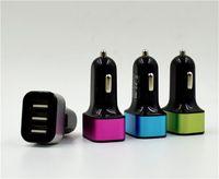 x mini şarj cihazı toptan satış-Üçlü Metal Alaşım Araba Şarj 3 Port USB Araç Şarj Mini Şarj Adaptörü Evrensel Apple iphone 6 7 8 X Samsung HTC Için