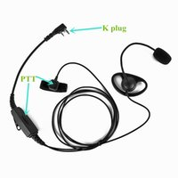 Wholesale puxing two way radios - 2 Pin K-Plug Headset Headphone with Double PButton for BAOFENG Two Way Radio UV-5R UV-B5 UV-B6 PUXING WOUXUN Walkie Talkie