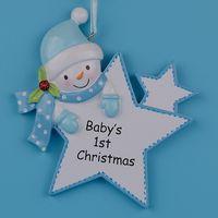 blauer weihnachtsbaum stern großhandel-Blauer Jungen-Stern-Baby-1. Geschenke Polyresin Diy personifizierte Weihnachtsbaum-Verzierungen für Feiertags-neues Jahr-Geschenk-Ausgangsdekoration