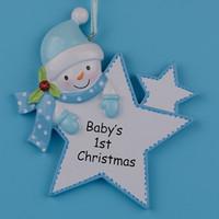 ingrosso stella di albero di natale blu-Blue Boy Star Baby 1st Gifts Polyresin Fai da te Personalized Christmas Tree Ornaments per la festa di Capodanno regalo decorazione della casa