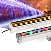 led bar appliques extérieures achat en gros de-L'éclairage extérieur a mené la lumière crue AC85-265V RGB de la lampe de rondelle de mur 12W 18W LED de projecteur d'inondation