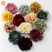 Wholesale purple christmas wreath - High Quality DIY Artificial Silk Flower Head For Home Wedding Party Decoration Wreath Gift Box Scrapbooking Fake Flowers GA257