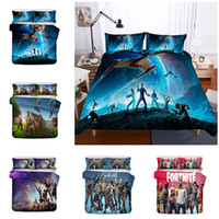 ingrosso 3d bedding set-3D Fortnite Design Bedding Set 2PC / 3PC Copripiumino Set di Copripiumino Federa Twin Full Queen King Size