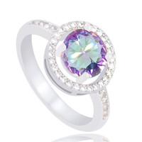 цветные кольца оптовых-Разноцветные очаровательные изысканные ювелирные подарки серебряный цвет anillos mujer CZ кольцо для женщин размер 6-10