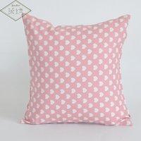ingrosso cuore del cuscino-Federa per cuscino in cotone e lino decorativo da 45 cm quadrata per la casa