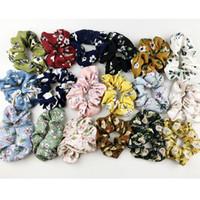 vintage gül saç aksesuarları toptan satış-18 Renk Kadınlar Kızlar Vintage Gül Çiçek Elastik Halka Saç Bağları Aksesuarları At Kuyruğu Tutucu Hairbands Lastik Bant Scrunchies 1 pack = 18 renkler