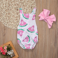 monos de bebé rosa al por mayor-Baby Girls Rompers 2018 New Girl Summer Watermelon Impreso Romper + Pink Headband 2 piezas Set INS Infant Toddlers Jumpsuit Outfits